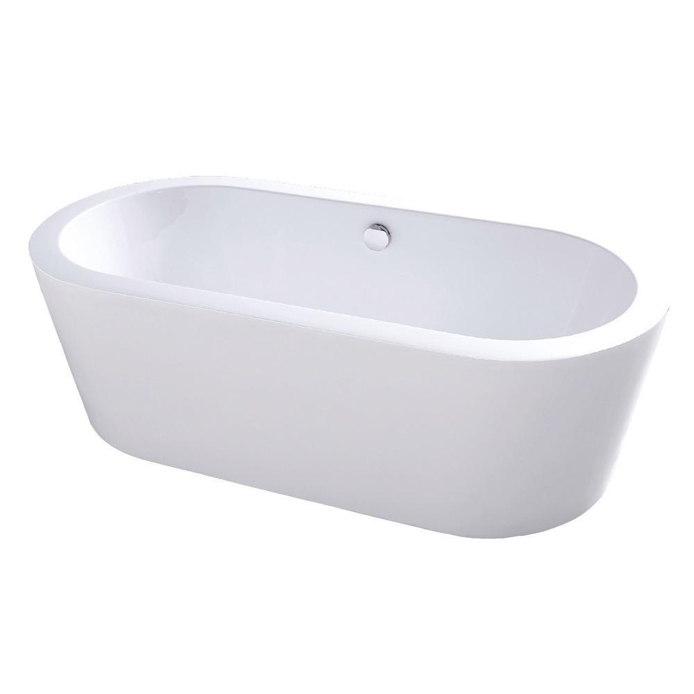 Maykke Harrow 5 Ft Acrylic Flatbottom Non Whirlpool Bathtub In