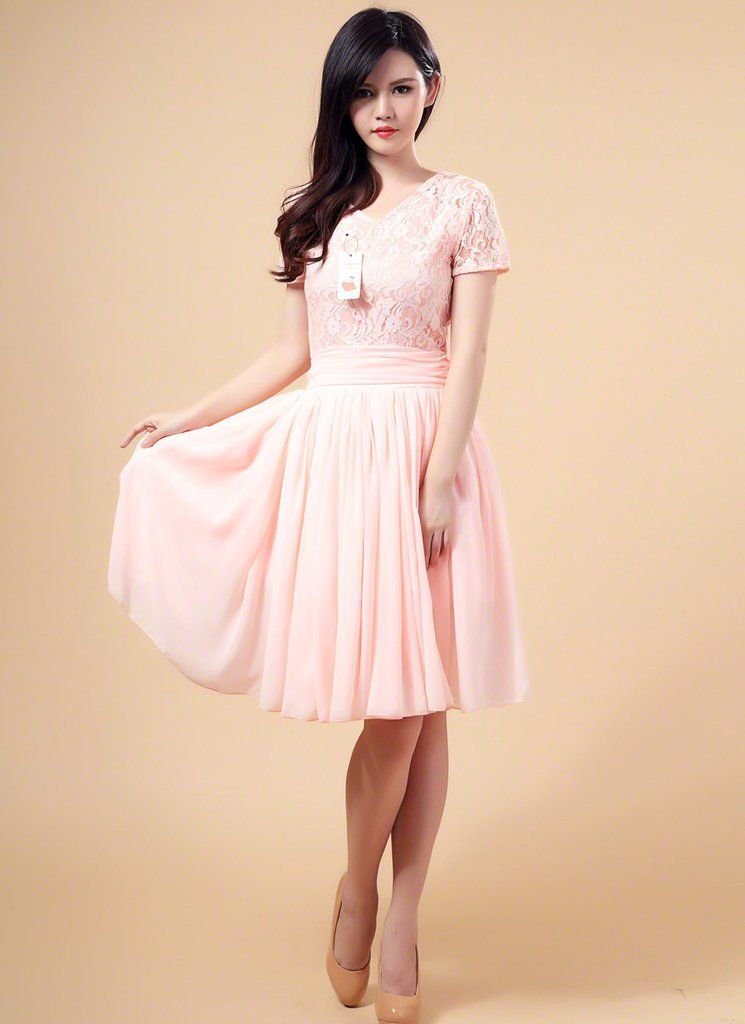588b871b5eeac Light Pink Fit and Flare Floral Lace and Chiffon Bridesmaid Mini Dress with Wide  Skirt Hem