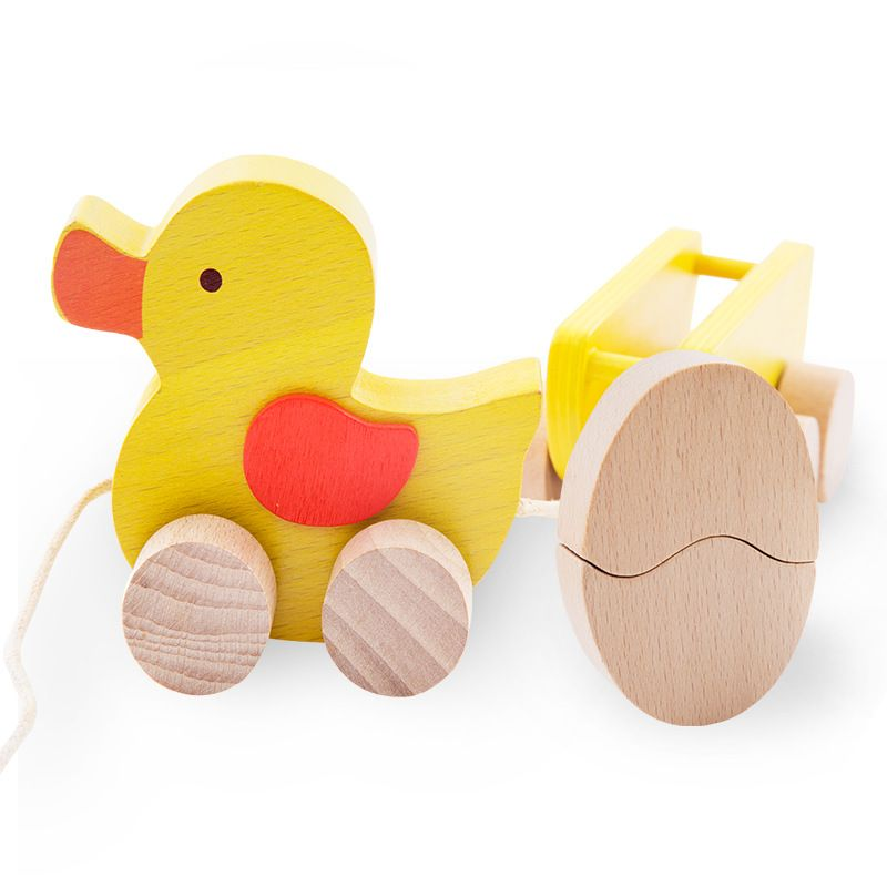 Click to Buy << Baby wooden toys pulling duck Toddler Toy Car Baby ...
