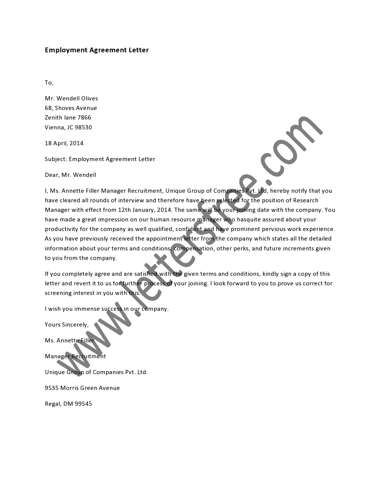 employment agreement letter sample agreement letters pinterest