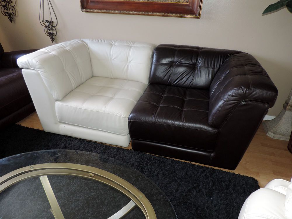 Macy S Two Piece Modern Stacey Leather Tufted Sofa We Ship