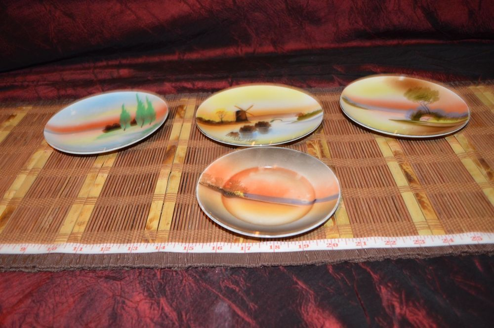 Assorted 4 Hand Painted Plates Saucer Outdoor Scene Gold Accents Made In Japan