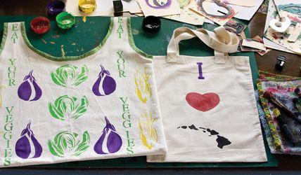 Stencil art, reusable tote shopping bags