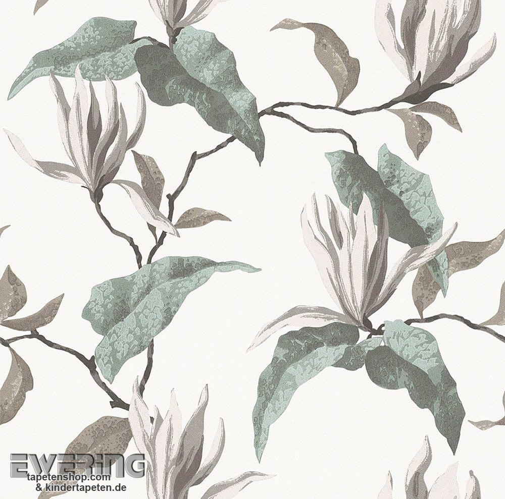 Rasch Sophie Charlotte 7 440409 Creme Blüten Tapete Wohnzimmer