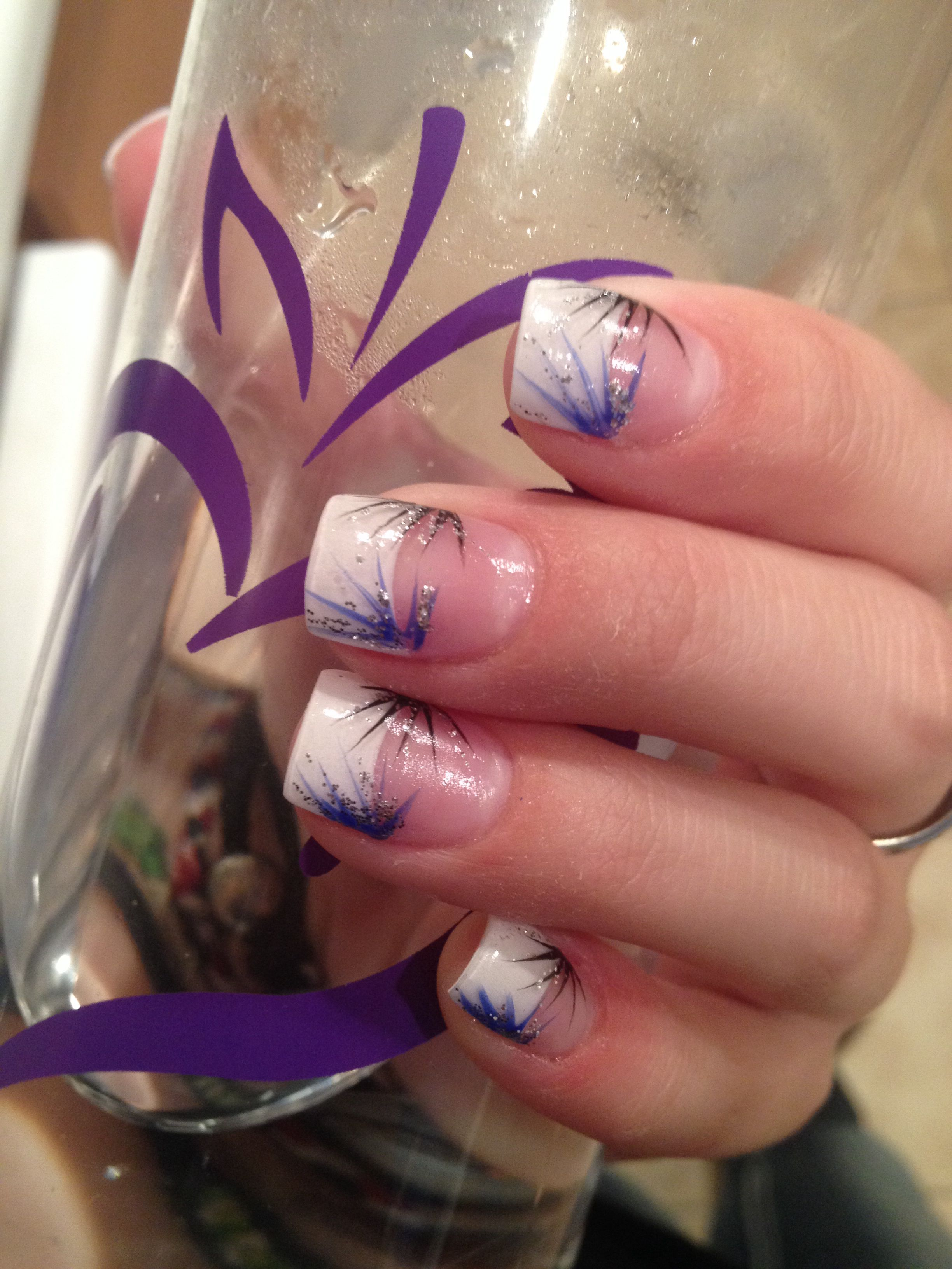 Prom Nails White Tips With Blue Sparkly Design The Berry Water