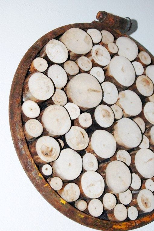 Wood slice wall sculpture rustic wall art tree von for Holzscheiben wandgestaltung