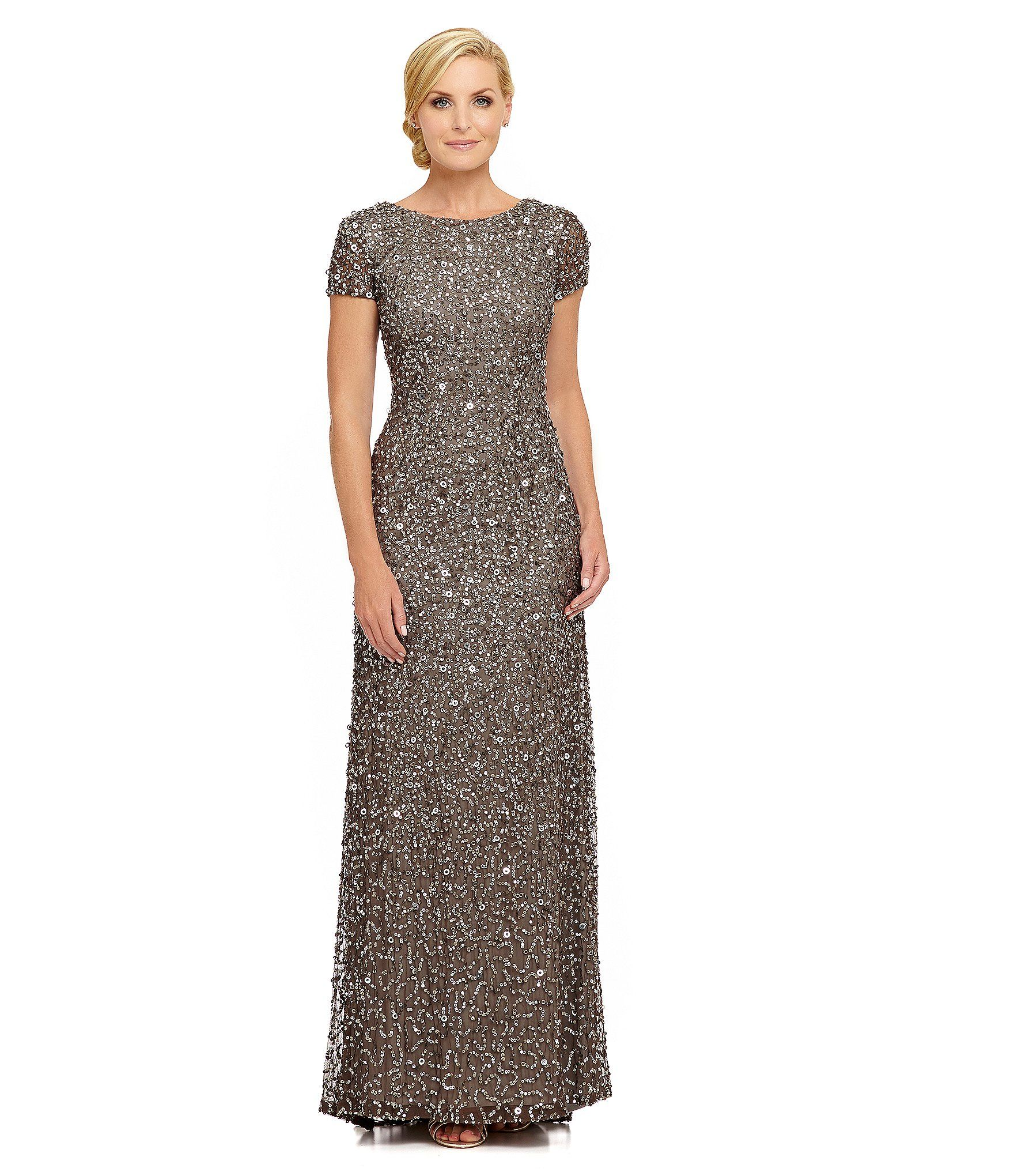 Adrianna papell shortsleeve sequined long skirt gown dillards