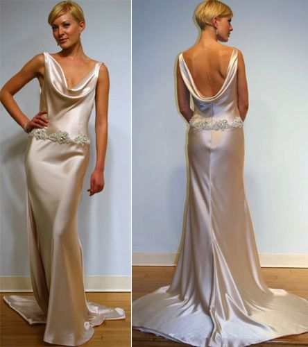 Cowl Neck Wedding Dress. I love this dress, and the color is ...