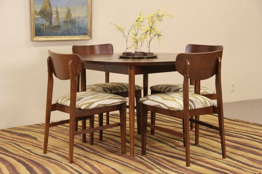 Midcentury Modern Dining Set Table Leaf 4 Chairs 1960 Vintage