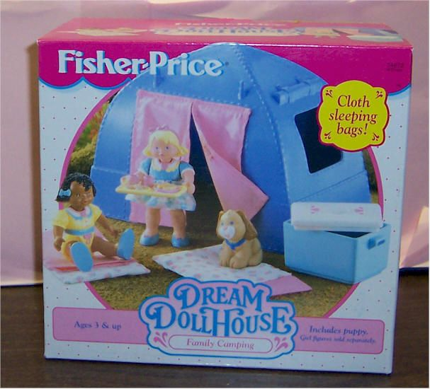 Fisher Price Loving Family Dream Dollhouse Doll/'s Blue Camping Sleeping Bag