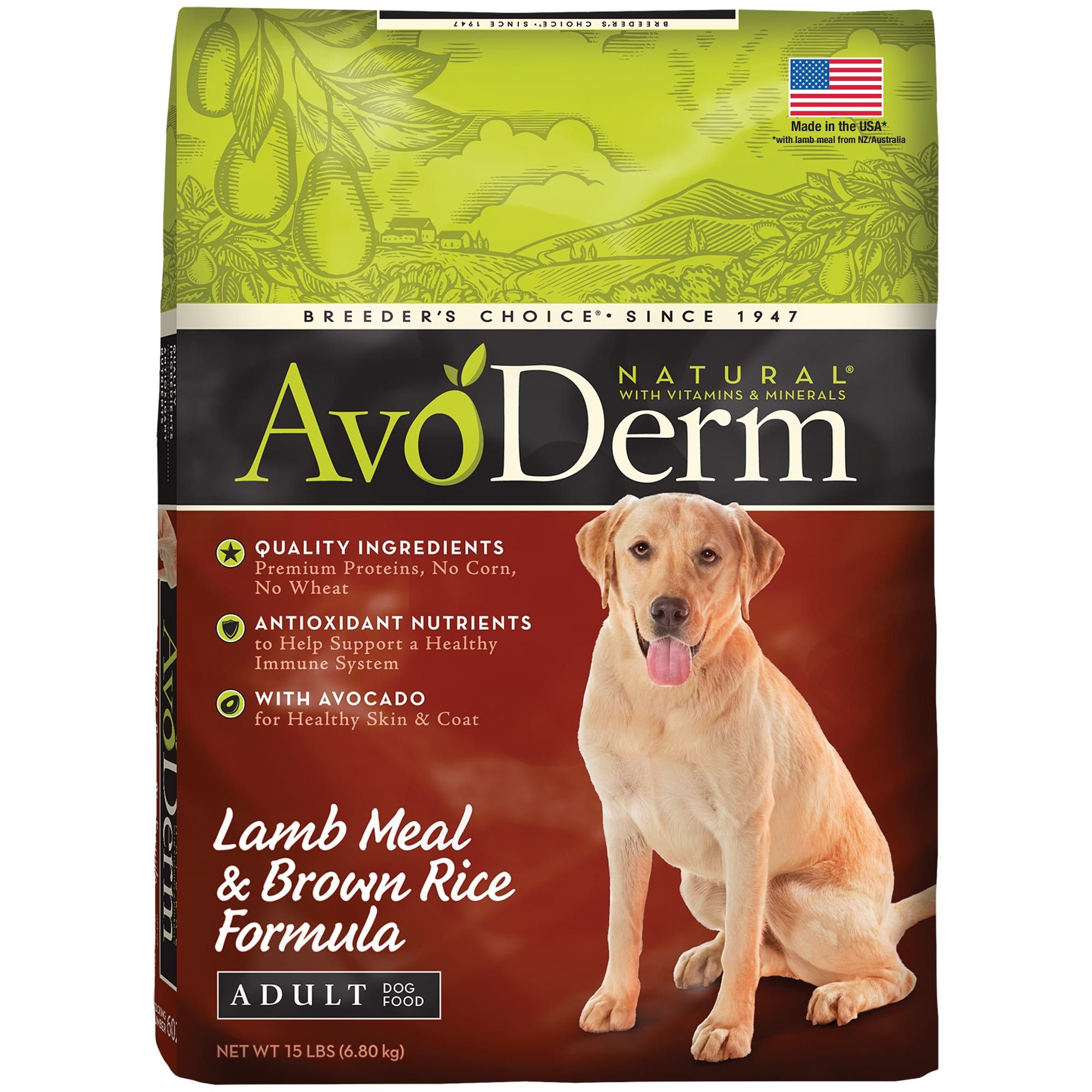 Avoderm Natural Lamb Meal Brown Rice Formula Dry Dog Food 15