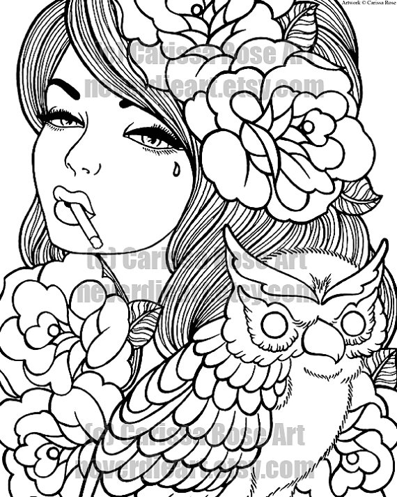 graphic about Tattoo Coloring Pages Printable identified as Electronic Obtain Print Your Particular Coloring Reserve Determine Site