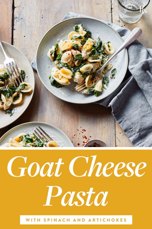 Goat Cheese Pasta with Spinach and Artichokes 30 minutes course 500 calories