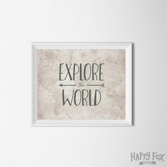 Explore the World map art printable, map print, map printable, arrow wall art, explore quote, beige decor, world map printable, digital