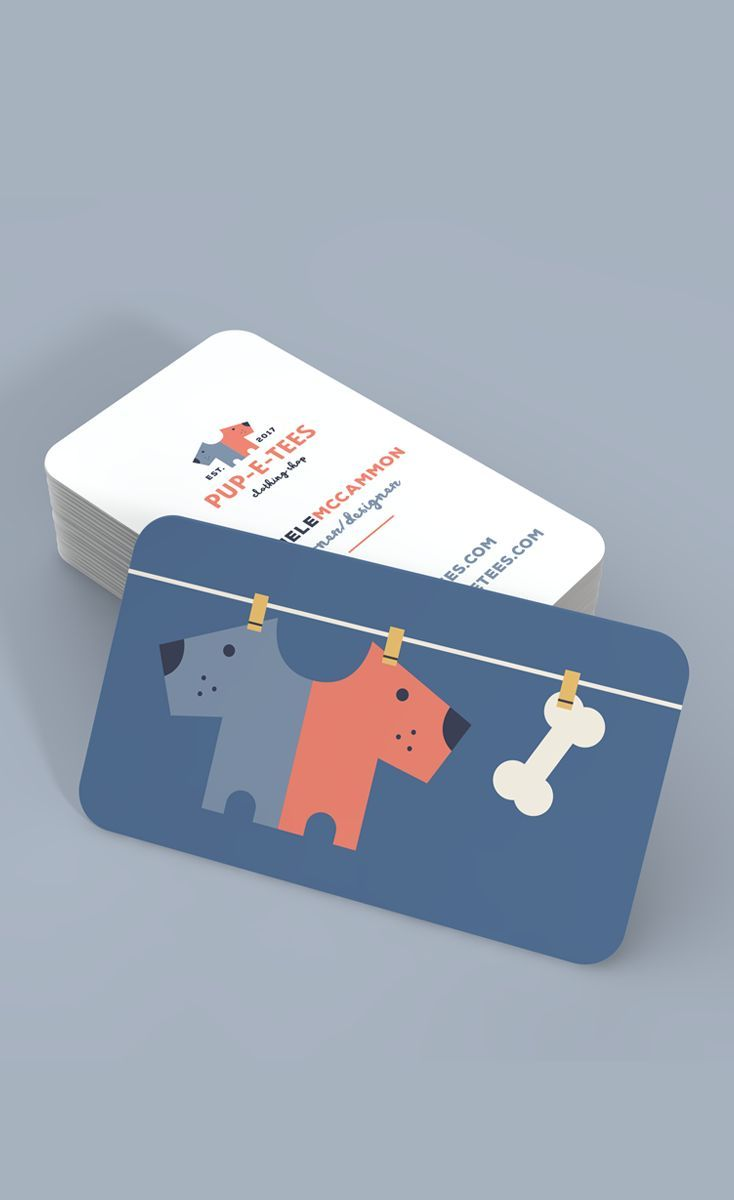 Fun and cute business card design for Pup-E-Tees, a pet-themed T ...