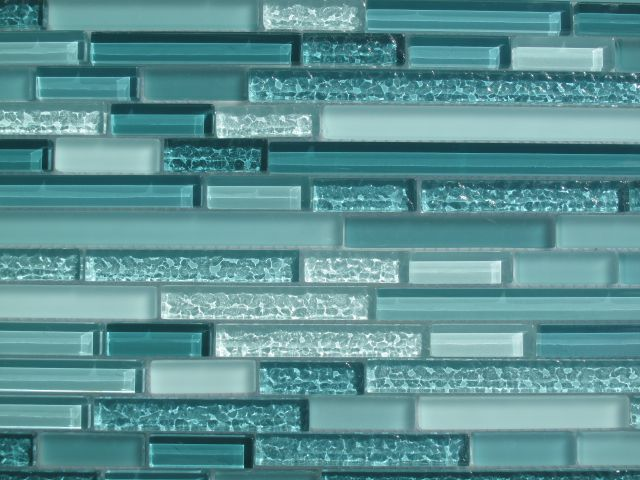 Aqua Horizontal Mosaic Glass Tile Kitchen Backsplash Bathroom
