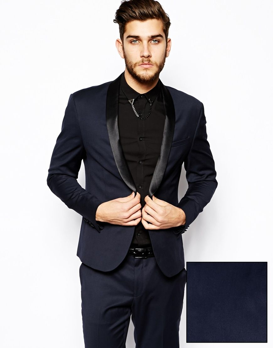 Image 1 of ASOS Skinny Fit Navy Tuxedo Jacket with Shawl. Mens TuxMens  SuitsSuit ...