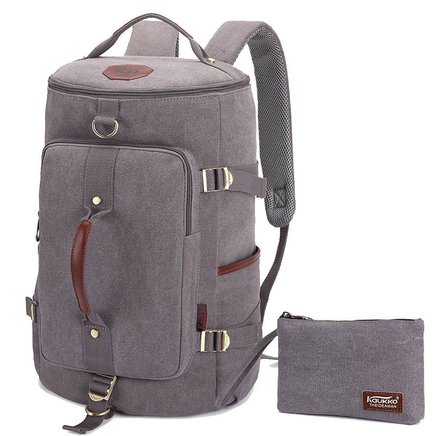 KAUKKO Canvas Backpack Laptop Daypack Hiking Travel Shoulder Bag Duffel Bags    Huge discounts available   Backpacking bags  5e18a598aac8d