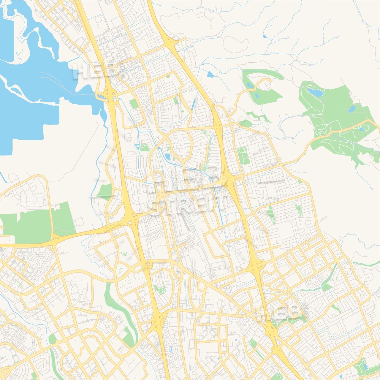 Empty vector map of Milpitas, California, USA | Maps Vector ...