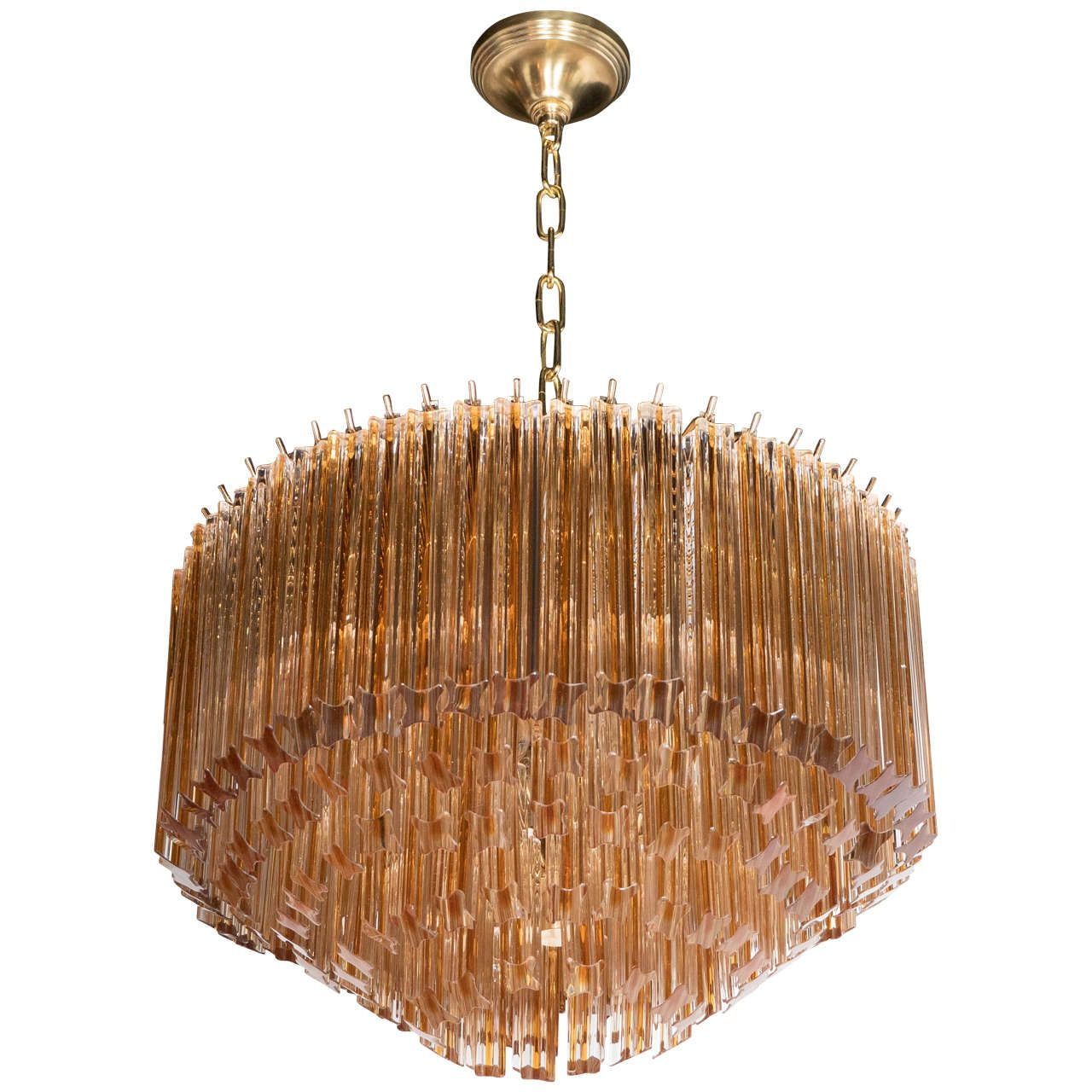 Mid-Century Modernist Five-Tier Cut Triedre Camer Chandelier in Amber and Clear | From a unique collection of antique and modern chandeliers and pendants  at https://www.1stdibs.com/furniture/lighting/chandeliers-pendant-lights/