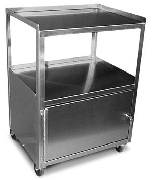 Stainless Steel Utility Cart With Single Locking Cabinet