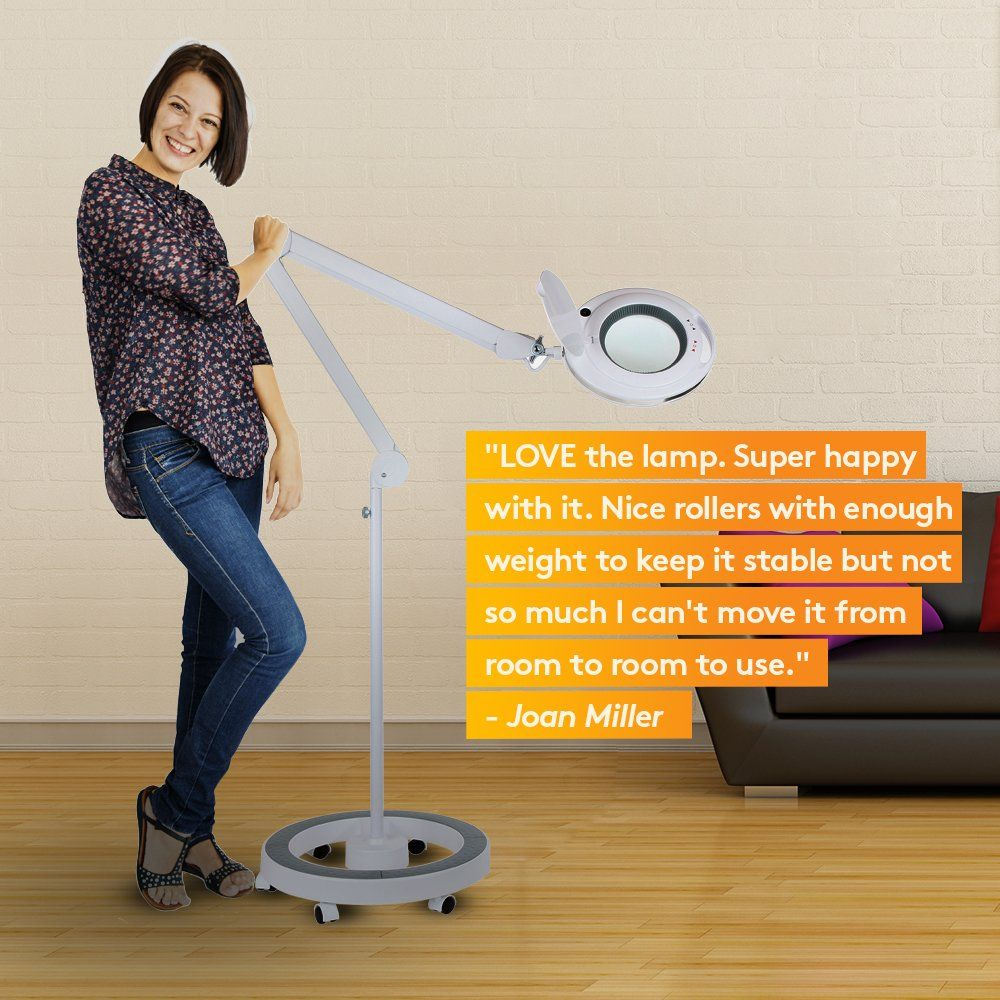 Brightech Lightview Pro Dimmable Led Magnifying Floor Lamp With 6 Wheels Rolling Base For Professional Use And Crafts Ad Floor Lamp Glass Floor Lamp Magnifier