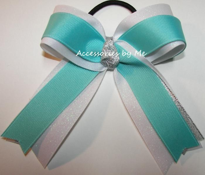 Gymnastics Hair Bow Teal Green Silver Black Sparkly Glittery Ribbons Leo Colors