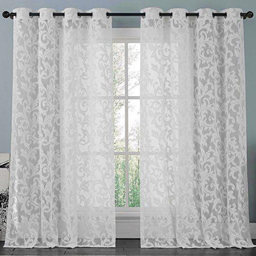 athena white lace curtain panel set
