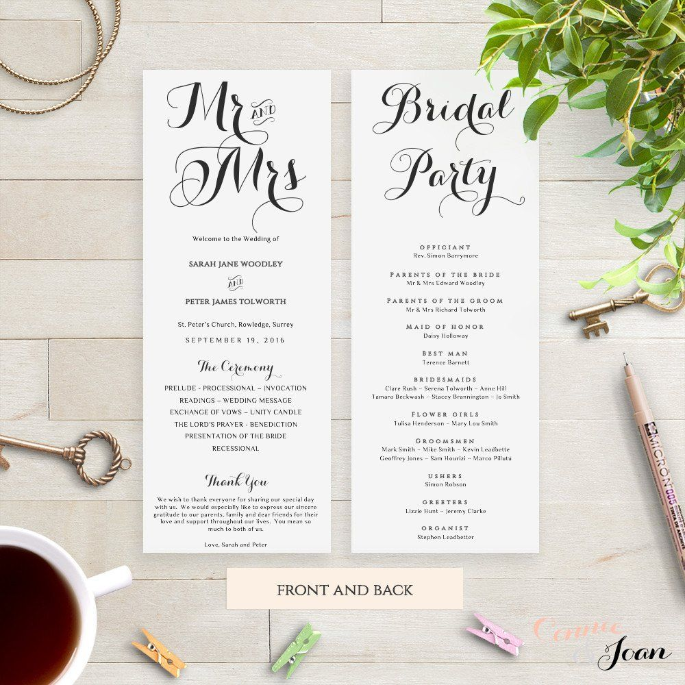 Mr Mrs Printable Wedding Order Of Service Program Template Download Edit Print And