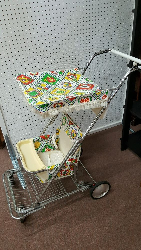 Vintage Antique Retro highchair walker old baby stroller
