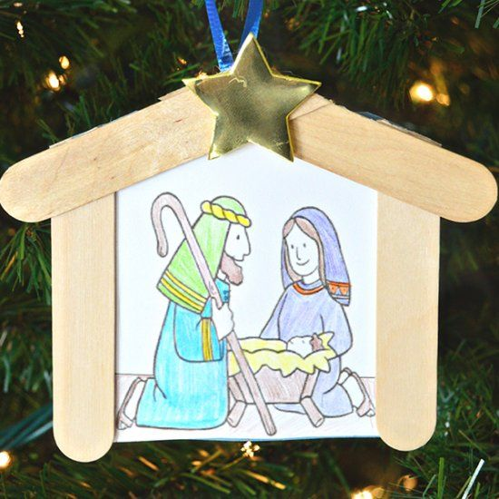 A coloring page and two popsicle sticks make an adorable for Nativity crafts to make