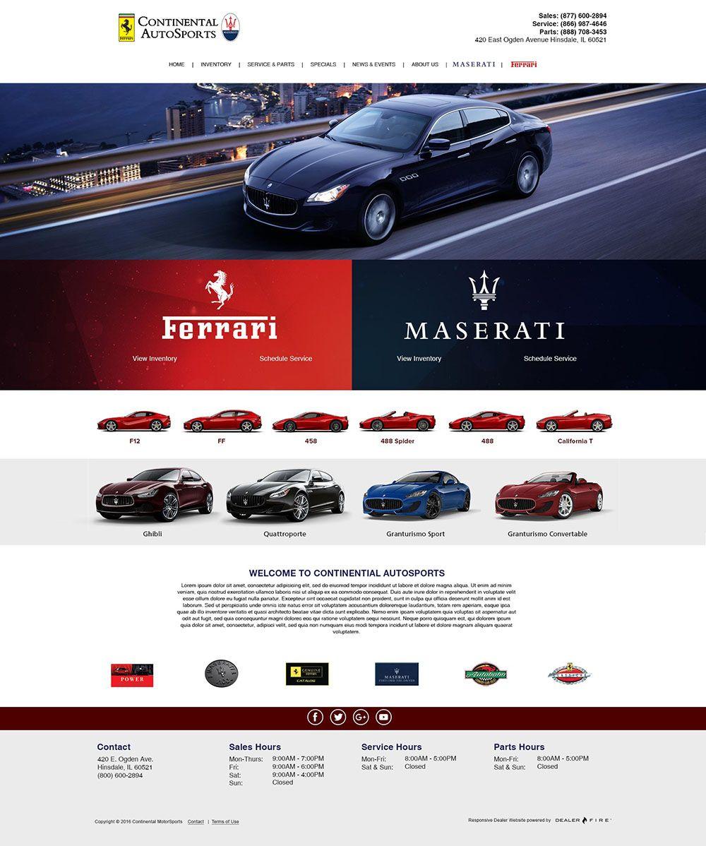 Continental Autosports Website Design Ferrari Maserati Ferrari Dealership Fun Website Design Ferrari