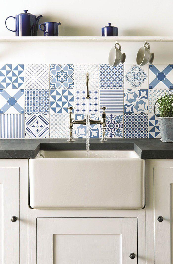 Revestir suelos y paredes con azulejos en azul y blanco Pinterest