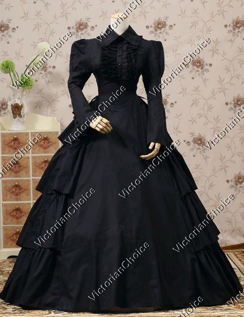 Victorian Maid Gothic Cotton Dress Theater Period Steampunk Clothing NAVY 007
