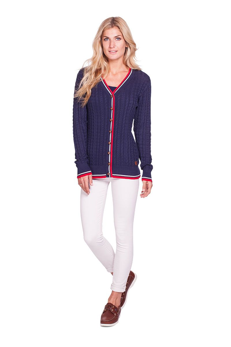 Dubarry Gort vintage Cricket inspired cable knit cardigan in Navy ...