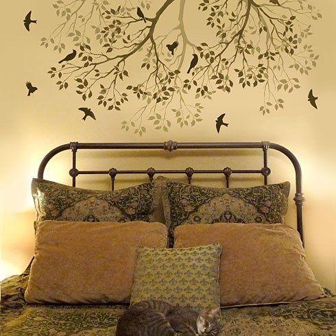 Decorare le pareti con gli stencil rami di albero con for Stencil per pareti