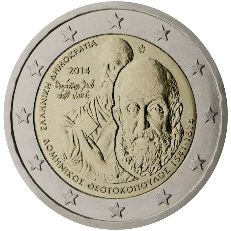 2014 Greece commemorative €2 coin: 400 years since the death of Domenikos Theotokopoulos (1614-2014). The inner part of the coin shows a portrait of Domenikos Theotokopoulos. The background features a typical figure from his work, illustrative of his technique. On the left: the year 2014 and the characteristic signature of the artist ('Domenikos Theotokopoulos Epoiei').  Mintage: 750,000