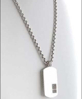 "David Yurman: Classic men's polished sterling silver Tag on a 22"" round box chain.  ($$$$)"