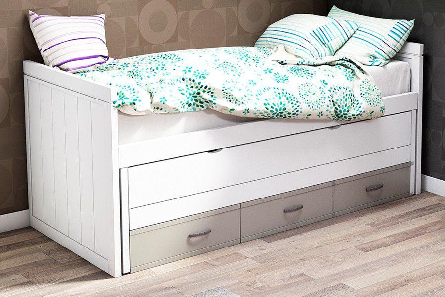 Cama nido compacto 2 camas y 3 cajones madera haya for Camas de 105 con cajones