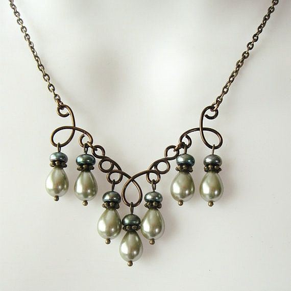Pearl Chandelier Necklace Set with Sage and Dark Green Pearls -  Wire Work Focal in Antique Bronze.