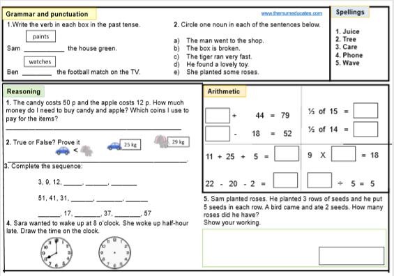 Free Ks1 Sats Worksheets And Practice Papers The Mum Educates Mental Maths Worksheets Prepositional Phrases Activities Grammar And Punctuation