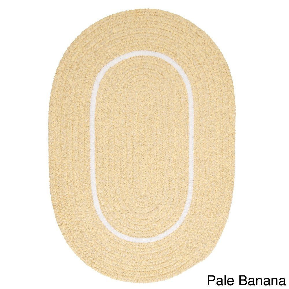 CMI Haven White Border Indoor/ Outdoor Braided Area Rug (5' x 7') (Haven Pale Banana 5 x 7 Rug), Yellow, Size 5' x 7'