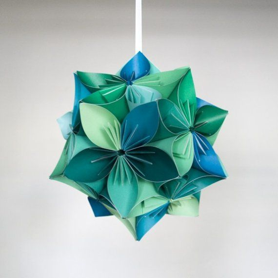 Large Kusudama Bluegreen Origami Flower Ball By Juliedyecraft