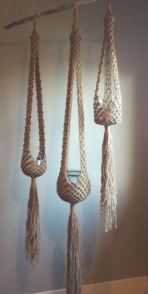 Good Cost-Free VENUS Macramé Plant Hangers// CHOOSE One or Set Of 3 Retro 70s Bohemian Trio Matchi
