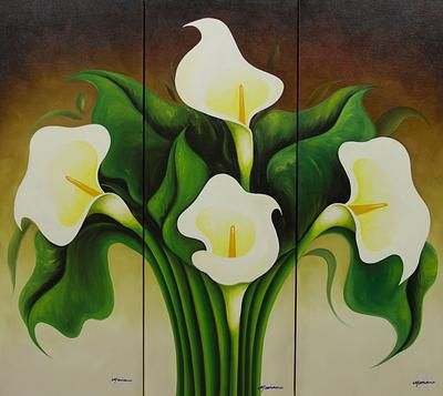 Calla Lilies Triptych Flower Painting Lily Painting Floral Oil Paintings