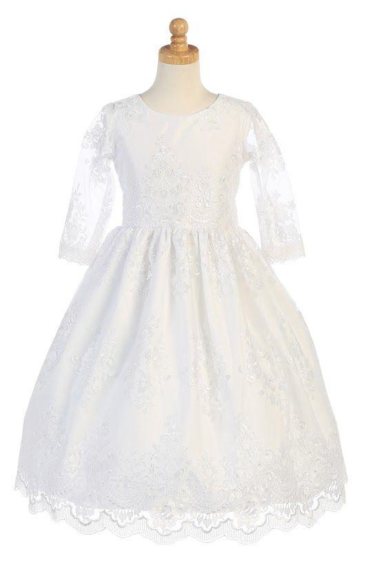 Lito Big Girls White Embroidered Tulle Tea Length Communion Dress B071YHKFJ4
