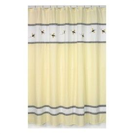 Baby Bathroom Bumble Bee Yellow And White Shower Curtain Final