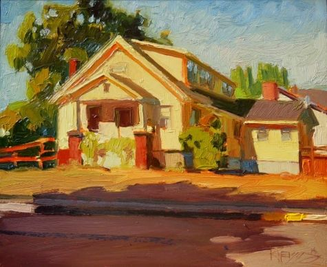Yellow House On Race Street Plein Air Urban Oil Painting By Robin Weiss