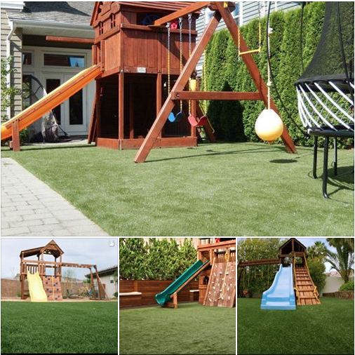 """Is a new playset in your near future? Maybe it's on someone's """"wish list"""" this year. If so, think about creating a safe play area by adding some artificial grass underneath to create safe falls up to 12' with the use of our SYNLawn Playground System. http://www.synlawn.com/artificial-grass-products/playground-products/"""