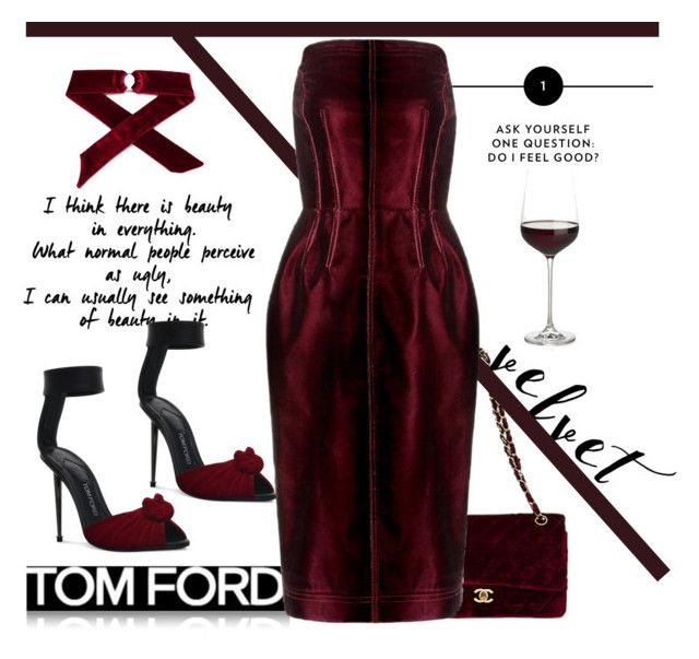 """Tom Ford Velvet dress"" by ellenfischerbeauty ❤ liked on Polyvore featuring Crate and Barrel and Tom Ford"